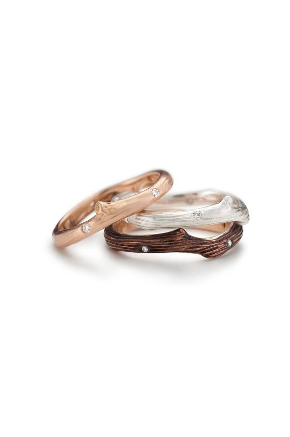Fabulous vineyard ring with diamond accents recycled gold wedding ring silver stacking ring branch