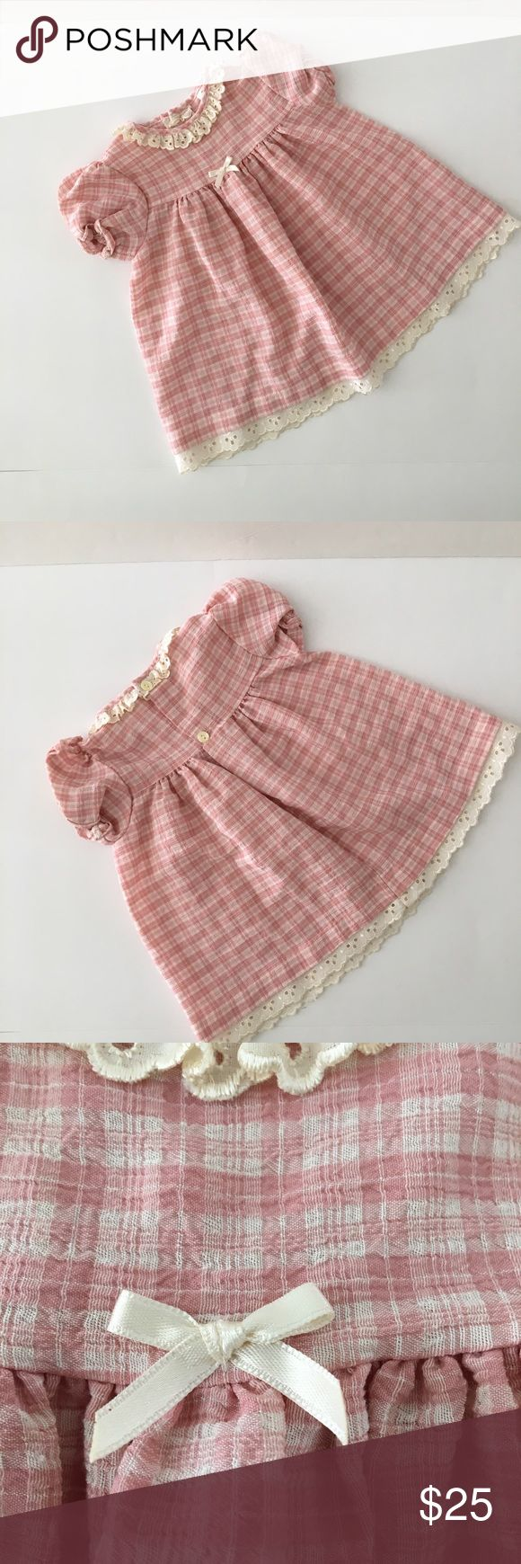 Beautiful baby girls dress Well made girls dress with Center bow detail and matching eyelet collar and trip on hem. Two button back closure. Short sleeves. tesco Dresses Casual