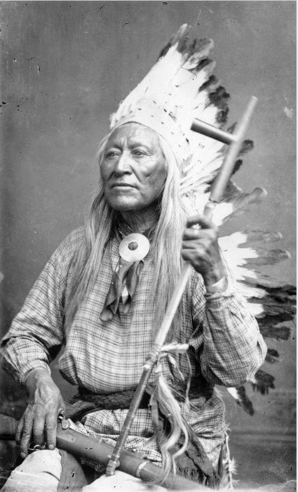 Studio portrait (sitting) of Washakie, a Native American (Shoshone) man - 1884/1885
