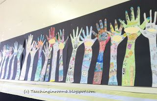 All Hands In display in a 5th grade classroom. Kids told all about themselves using their hand shape and we hung it around the room. This really was a fun and easy project for the first week of school.