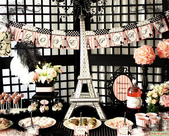 I Love Paris Party Pink and Black Elegant 3D by FrolicParties