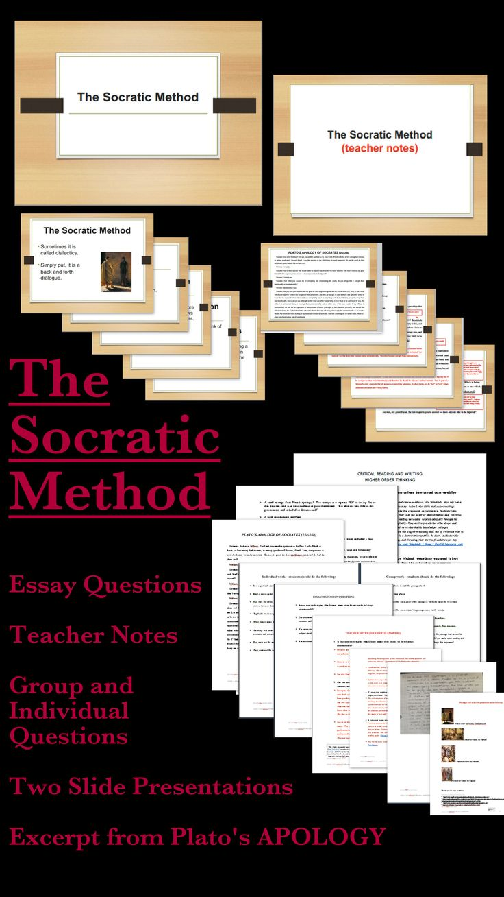 #Education While many teachers use Socratic Circles or Seminars as a way to engage their students in higher order thinking skills, they do not teach the actual Socratic dialogues as they are difficult to teach to Middle School or High School students. This unit takes a small section of Plato's APOLOGY and makes it accessible to younger students. This is a self-contained unit on The Socratic Method or dialectics (widely used in Colleges, Universities, and Law Schools). (GRADES 7+) $