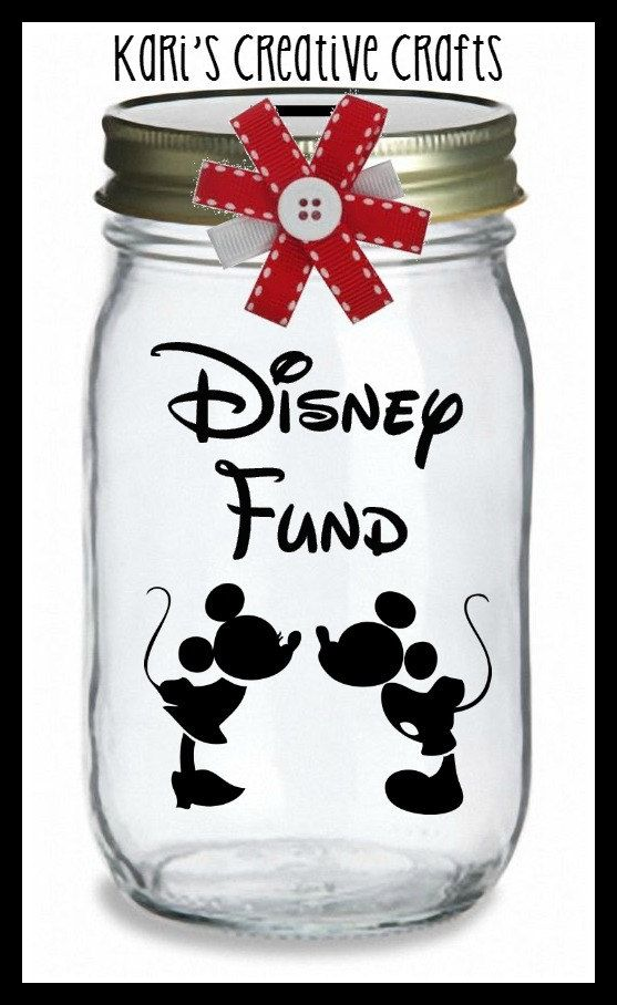 Disney Dough Jar Mickey & Minnie are so cute together.  I would paint the cover to match.  https://www.etsy.com/listing/242129799/disney-vacation-fund-vacation-bank-coin