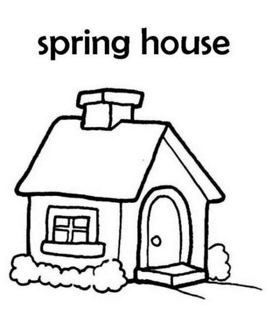 Spring House Coloring Pages