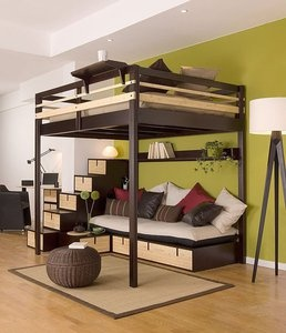 i would love a loft bed, i dont need a bunk bed. more room in my room, with stairs please :D