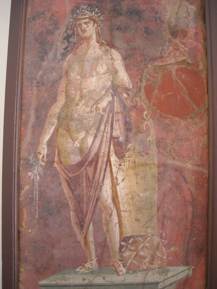 "MYTHOLOGY - Apollo with cithara and ""Omphalos"" - from Pompeii - Naples Archaeological Museum"