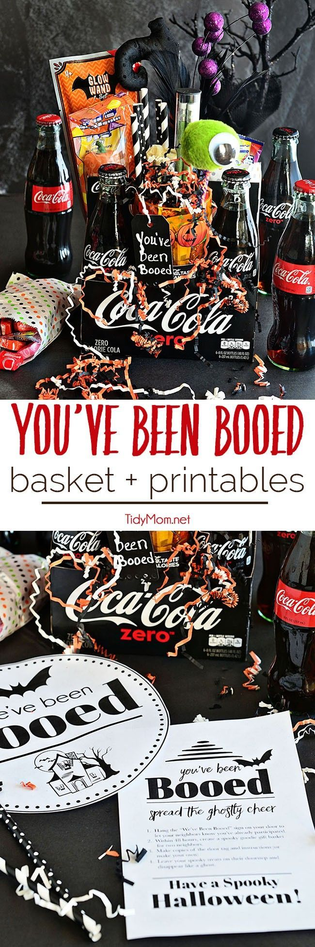 Have fun with yourneighbors – You've Been BOOed! ThisHalloween surprise is fun wayto create excitement and smiles around your neighborhood. Coca-Cola makes a great Halloween Boo Basket with free You've been Booed printable at TidyMom.net