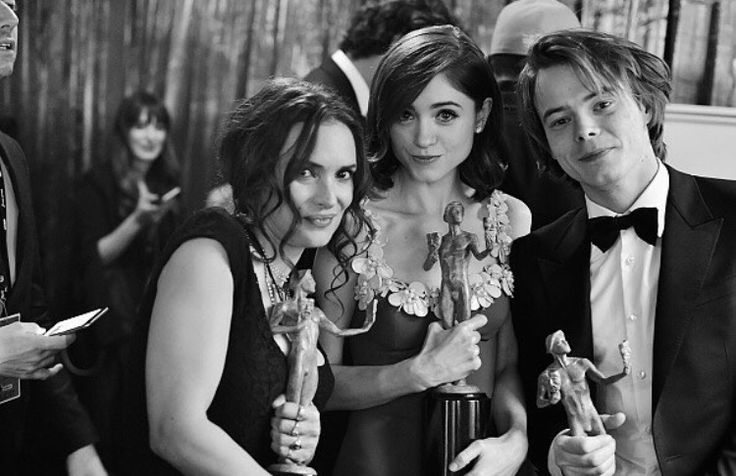 Winona Ryder, Natalia Dyer, and Charlie Heaton with their SAG Awards!