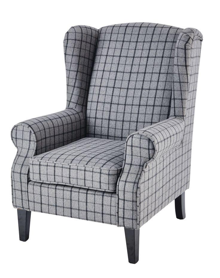 Fauteuil en laine à carreaux gris Scotland
