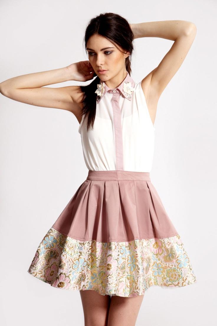 Boutique Dawn Brocade Hem Prom Skirt