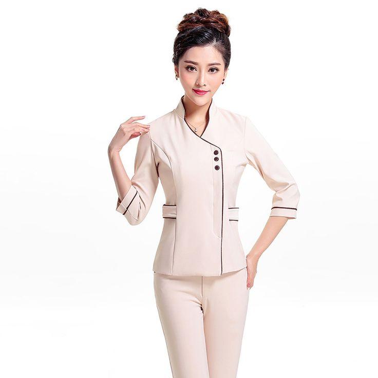 Barato Frete grátis verão manga curta uniformes salão de beleza SPA do Hotel uniformes hospitalares mulheres…