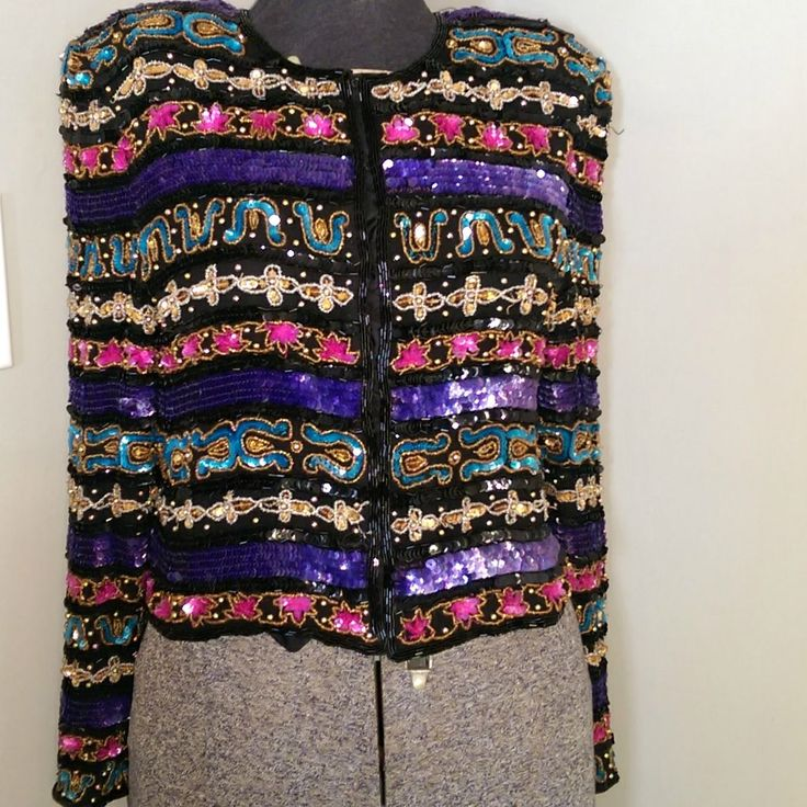 Women's Blazer Jacket   Laurence Kazar   M   100% Silk Multi-Color Sequin Lined   eBay