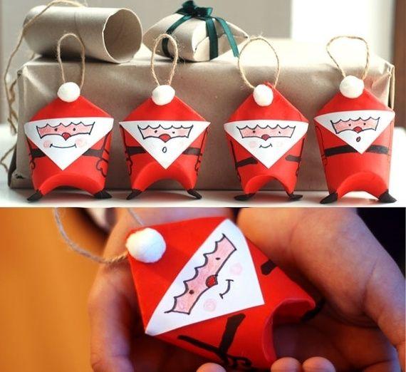 Veja como fazer enfeites de árvore de Natal no formato de Papai Noel com rolos de papel higiênico! - Veja mais em: http://www.vilamulher.com.br/artesanato/passo-a-passo/enfeite-de-arvore-de-natal-feito-de-rolo-de-papel-higienico-689479.html?pinterest-destaque