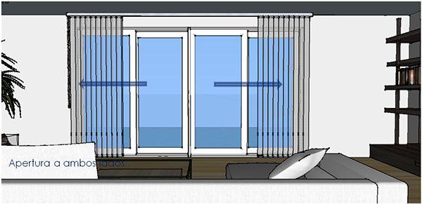 Esquema apertura a ambos lados del riel de cortina vertical