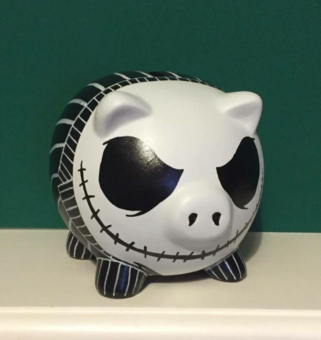 Disney Jack Skellington themed Hand Painted Piggy Bank money box Gift birthday £12.99