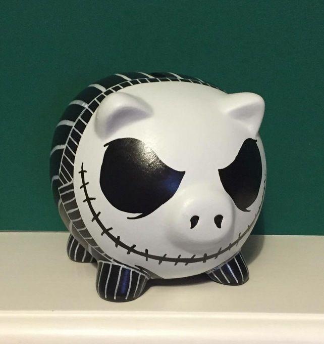 Disney Jack Skellington themed Hand Painted Piggy Bank money box Gift birthday £12.99