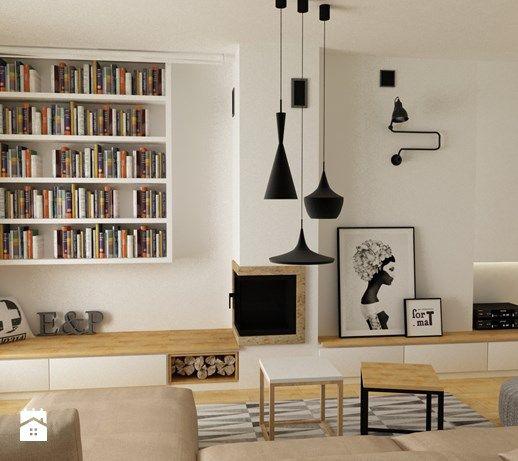 ściana kominkowa Kominek w stylu skandynawskim - Średni salon, styl skandynawski - zdjęcie od Grafika i Projekt architektura wnętrz