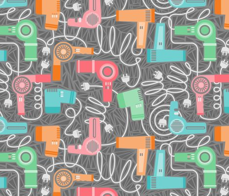 80s hair dryers fabric by cjldesigns on Spoonflower - custom fabric