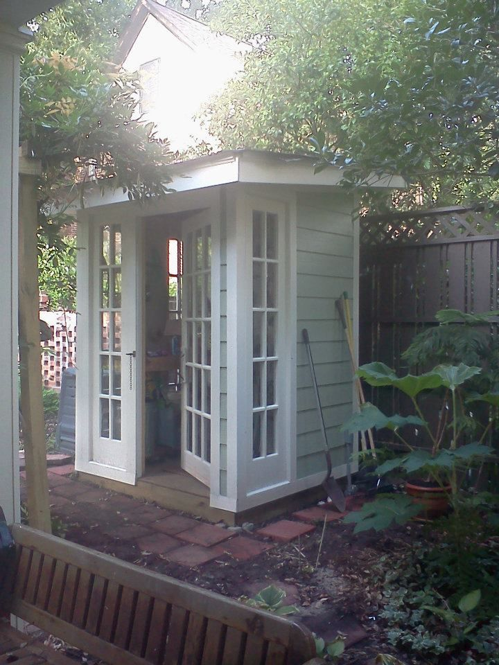 my garden shed made from the old french doors of the house and painted - Garden Sheds Victoria Bc