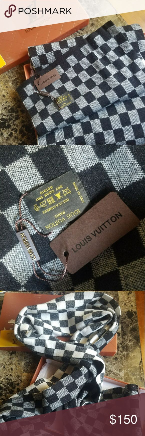 Authentic Checkered Louis Vuitton Scarf 100% Authentic Given as Gift. Never Used, just had it stored!! 10/10 condition  This is a long/large scarf- guaranteed. Nice checkered LV Scarf  Comes with original box and authenticity card. Louis Vuitton Accessories Scarves & Wraps