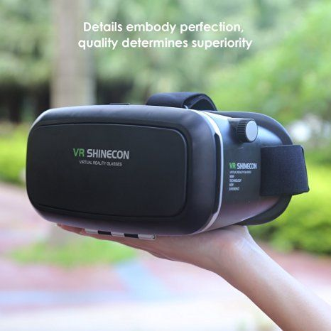 VR Shinecon 3D Virtual Reality Goggles Headset 3D Viewing Glasses with Pupil Focal Distance Adjustable Suitable for Google iPhone Samsung Note LG Huawei HTC Moto Screen