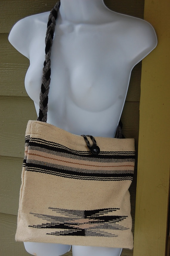 Vintage 70s Chimayo New Mexico Ortegas Weaving Shop Hand Woven Wool Native American Tribal Aztec Southwest Boho Purse Bag Tote by MaidenhairVintage, $65.00