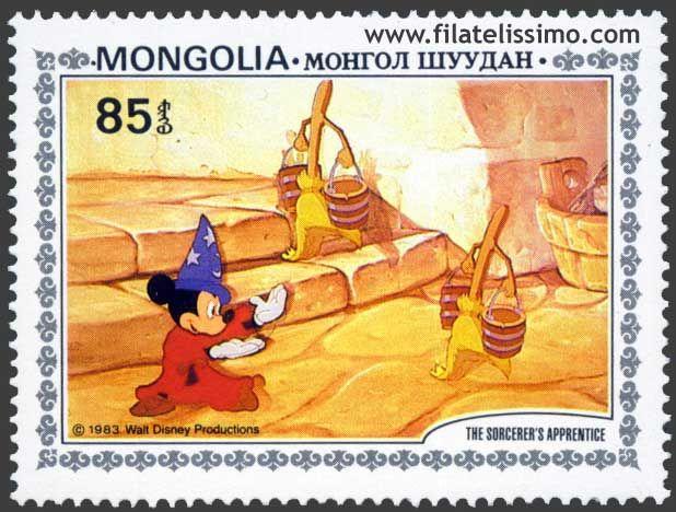 """1983.- Fantasía (El Aprendiz de brujo) de Walt Disney. Esta colección de sellos de Mongolia nos ilustran uno de los 7 cortometrajes, concretamente """"El Aprendiz brujo"""" que componen la fantástica película de Walt Disney; Fantasía que rodaron en el año 1940 en los estudios de Walt Disney. El Aprendiz de brujo: Lo que inicialmente fue un diseño de este corto, …"""