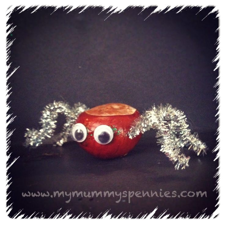 Conker crafts for Halloween - Spiders  - crafts with children http://www.mymummyspennies.com/2014/09/holiday-crafts-halloween-christmas-conkers.html