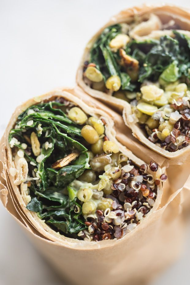 Make Ahead Super Green Vegan Quinoa Burritos - Vegan burritos packed with all the good stuff - quinoa, mung beans, and lots of kale - tossed with a creamy, serrano-spiked avocado dressing.