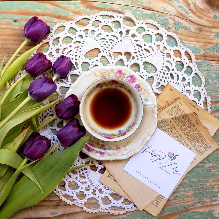 винтаж, кофе, старинная чашка, письмо, тюльпаны flatlay