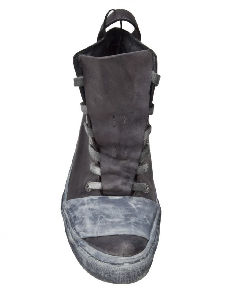 BORIS BIDJAN SABERI, BAMBA LEATHER SNEAKERS: covered lace-up front.