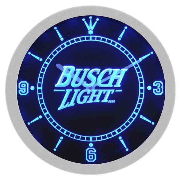Busch Light Beer Neon Sign Bar Wall Clock Led Wall Clock Neon Signs Wall Signs