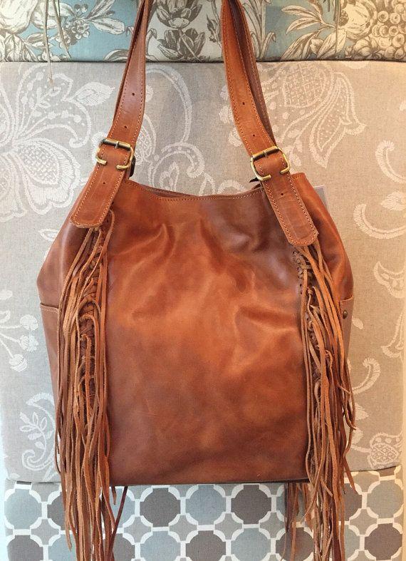 Tan leather hobo purse fringes hobo bag large tan by Percibal