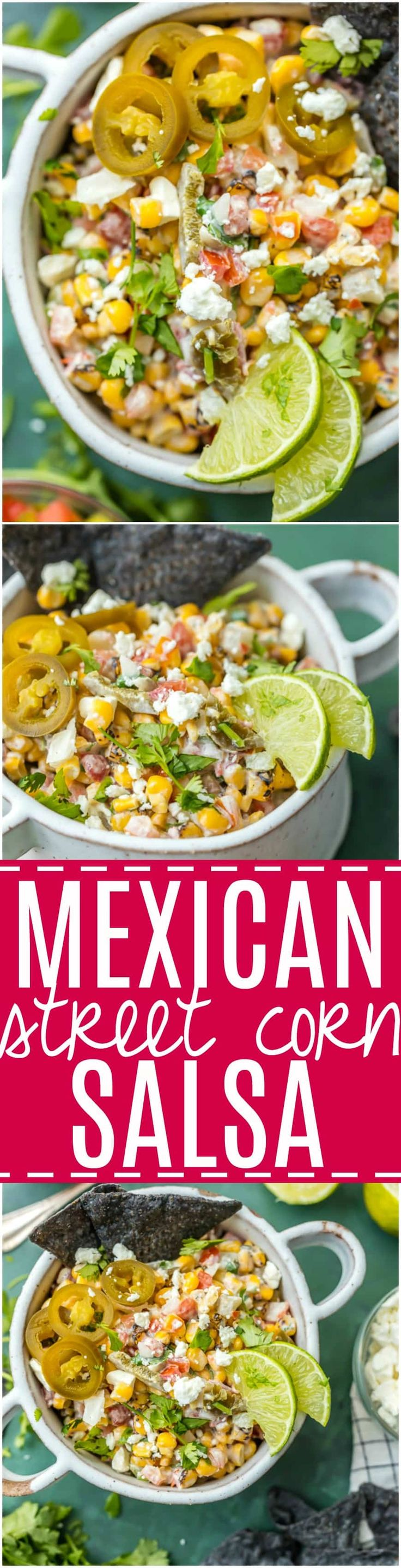 MEXICAN STREET CORN SALSA is my favorite spicy corn dip, just perfect for every occasion! Roasted corn, feta, lime juice, sour cream, cilantro, pico de gallo, and more! via @beckygallhardin