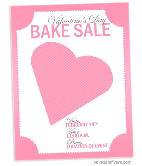 valentine's day bake sale flyer template