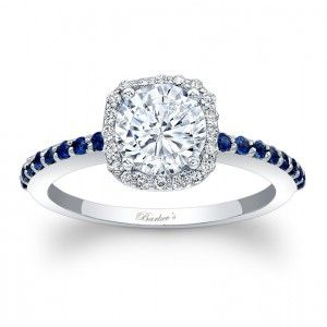 Halo Engagement Ring With Blue Sapphires 7838LBSW