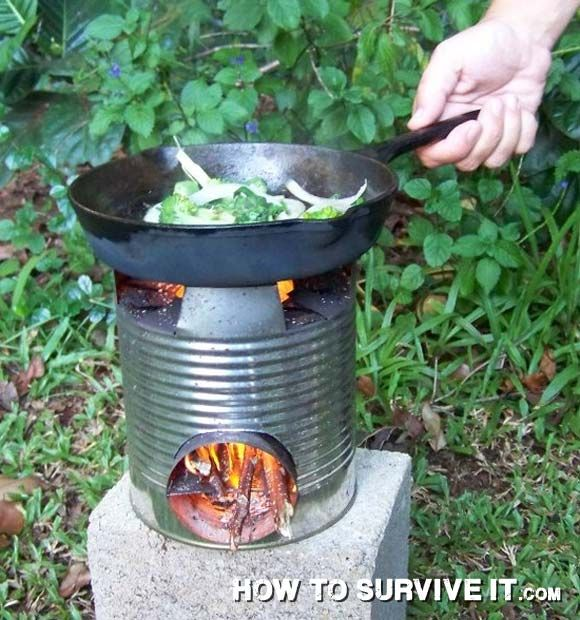A decent-sized empty can and a sturdy knife allow you to make a small stove that helps focus the heat of your burning fuel on your cooking device. (Pot, pan, skillet, etc.)