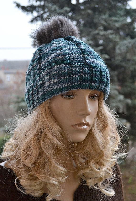 Multicolor Knitted Slouchy Beanie Hat Knitted cap in fur pompom cap  hat lovely warm autumn accessories women clothing