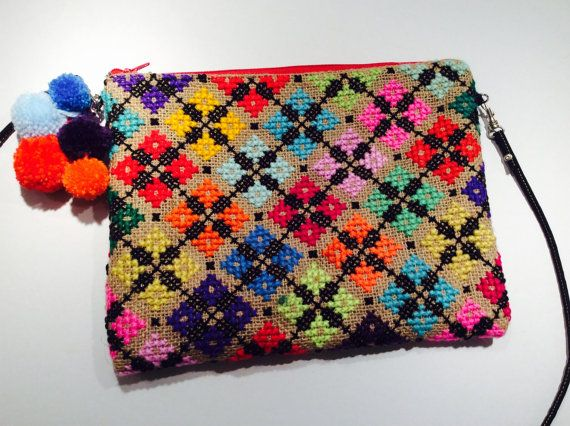 Crossbody bag cross stitch embroidered pouch bag with by Apopsis