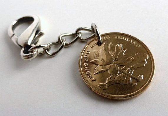Chinese Coin charm Flower charm Oriental Clothing by CoinStories