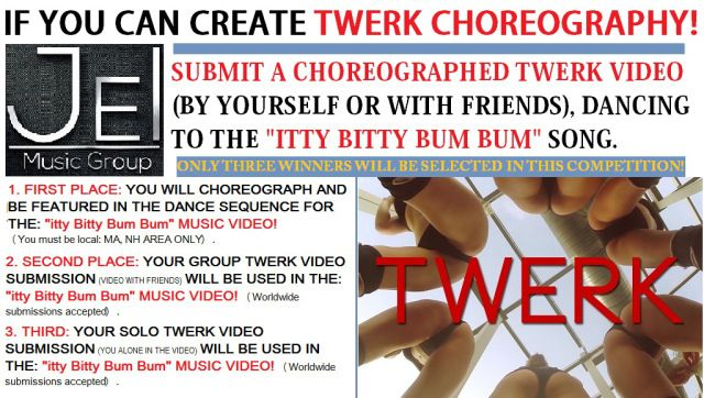 """JEI MUSIC GROUP is looking for ladies who can create a Twerk Choreography video and ENTER THE #ITTYBITTYBUMBUM contest, for their chance to be in the official """"Itty Bitty Bum Bum"""" MUSIC VIDEO. Winner's will receive up to $ 300.00 for their winning submissions, they will also be featured in the music video and more...  REMEMBER to SHARE this info with ANYONE you know who may fit what JEI is looking for.   GET ALL THE INFO: http://www.jewelseinc.com/itty-bitty-bum-bum-twerk-contest"""