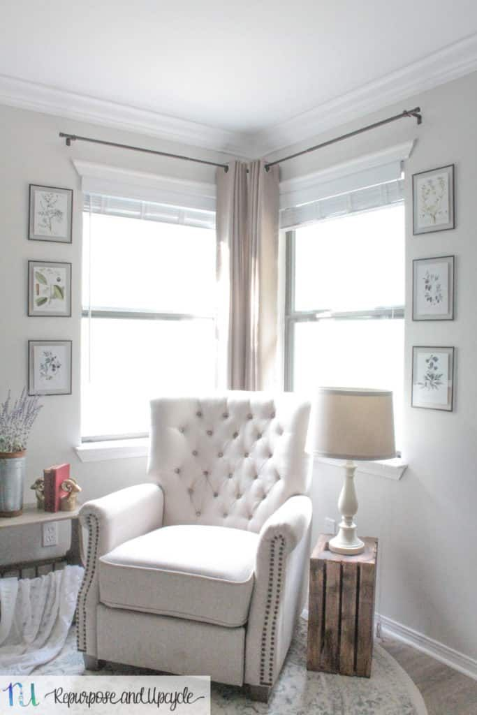 Transforming A Room With Corner Curtains And A Corner Curtain Rod Hack Corner Curtains Bedroom Corner Corner Curtain Rod
