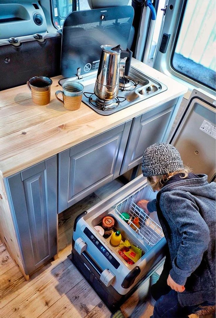 Great description of everything you should be thinking about when it comes to purchasing a refrigerator for your campervan. Compressor fridge size, ergonomics, efficiency, and type are all important factors. Perfect for the #vanlife interior!