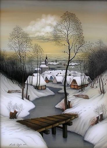 Les Bottines de Lili — wasbella102: By Zvonko Sigetic | Neige in 2019 | Naive art, Winter art, Illustration art