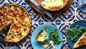 Herbed salmon and ricotta quiche and rosted cauliflower, gruyer and pancetta quiche