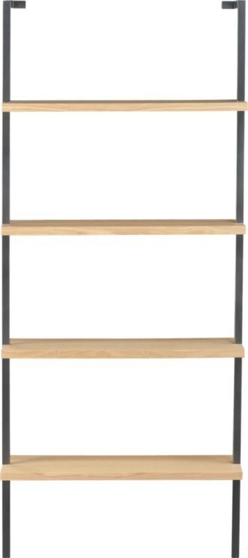"helix white oak 70"" wall mounted bookcase in storage 