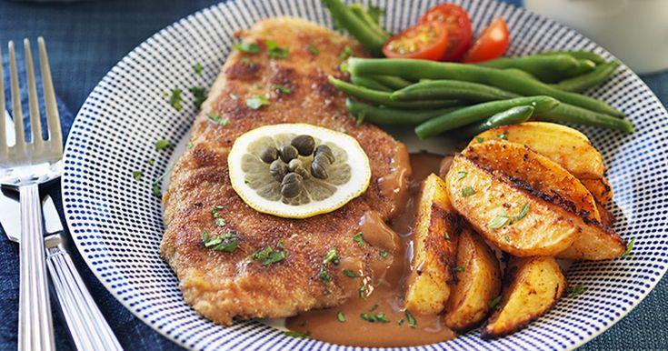 Dubbelpanerad skinkschnitzel med brunsås recept