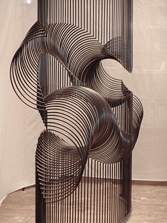 "McConnell Studios, ""Momentum"" Geomatic. This piece is kinetic. Each piece individually sways, acting like a millipede in motion. With the added impact of the sound of metal, it is fully interactive #Art #Installation"