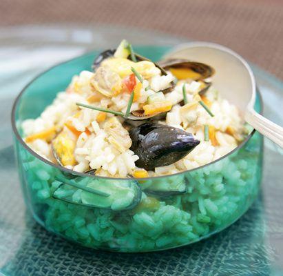 Risotto de fruits de mer et thon aux petits légumes