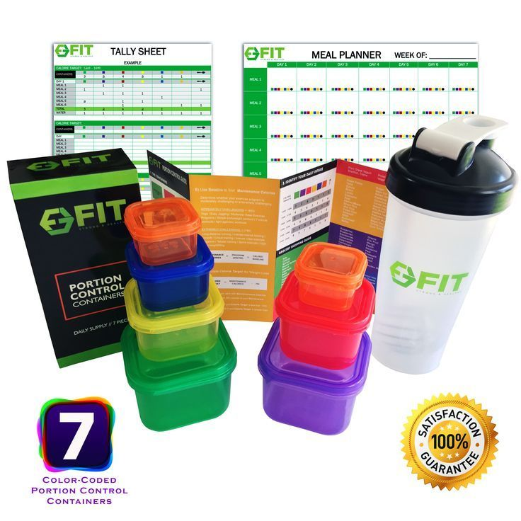 7 Piece Portion Control Containers & Protein Shaker Bottle Set + Complete Guide